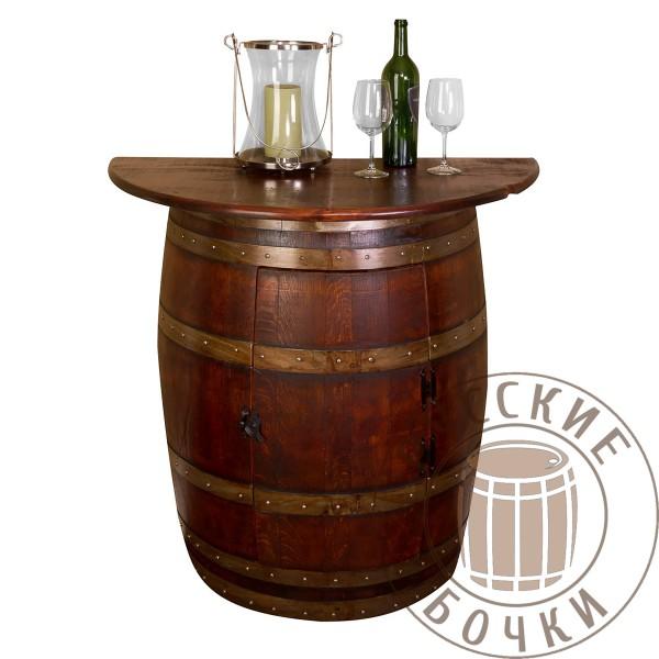 Декоративный стол бар полубочка со столешницей 90см и полкой (старение, сосна или дуб)