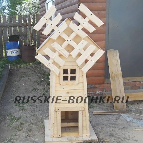 Мельница декоративная для сада из дерева №23
