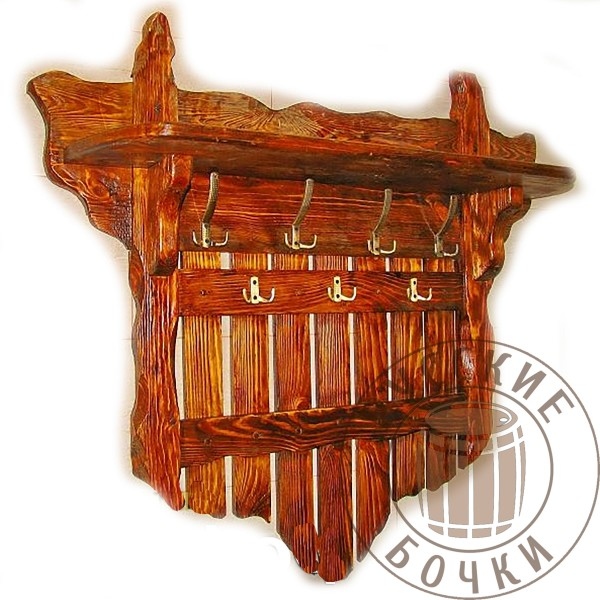 Вешалка для прихожей с полкой из дерева под старину