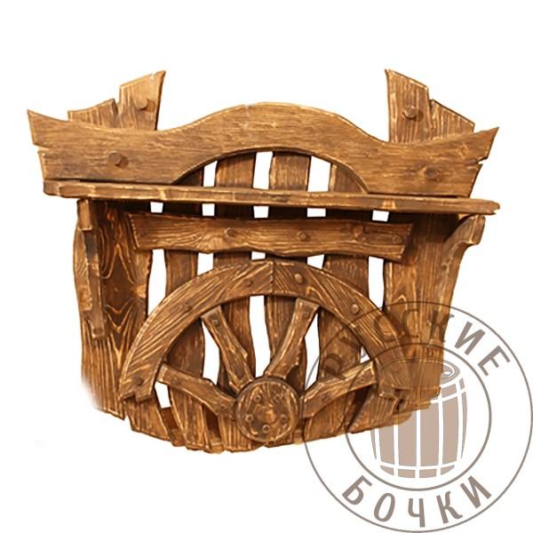 Вешалка с полкой для прихожей под старину из массива дерева