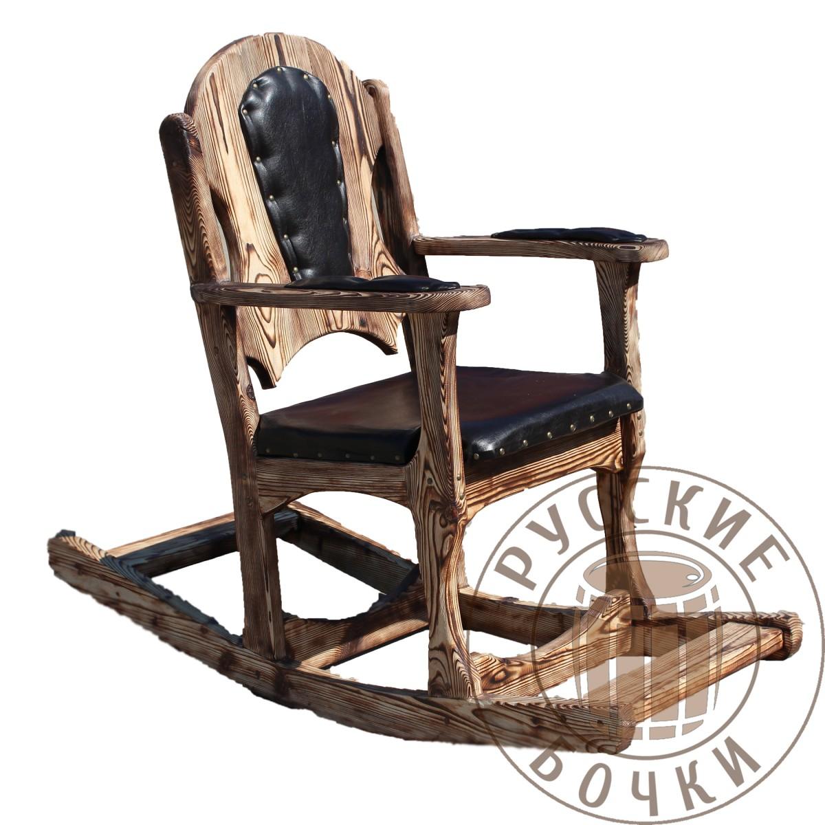 кресло качалка деревянное из массива под старину купить для дома