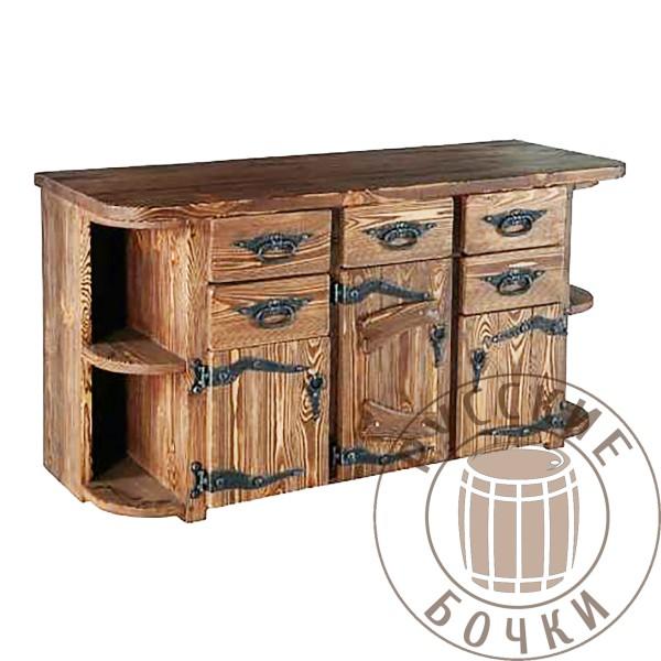 Комод деревянный под старину с нишами и кованными элементами