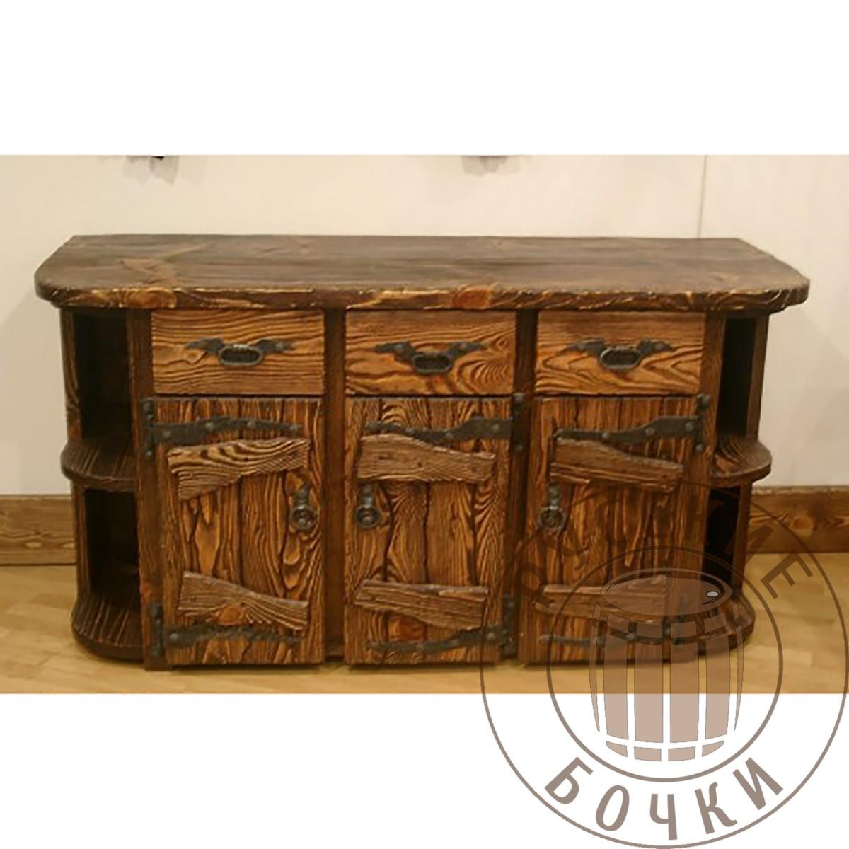 комод стол под старину с элементами ковки из массива дерева