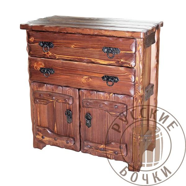 Комод высокий с дверцами из массива сосны в старинном стиле